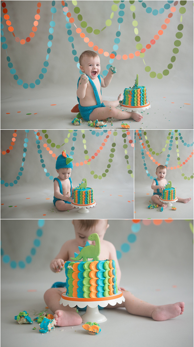 Adorable dino birthday smash cake studio session.