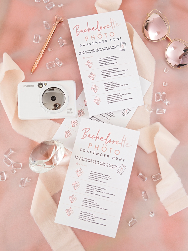 Print your own custom Bachelorette Photo Scavenger Hunt with our darling files and your Canon printer!