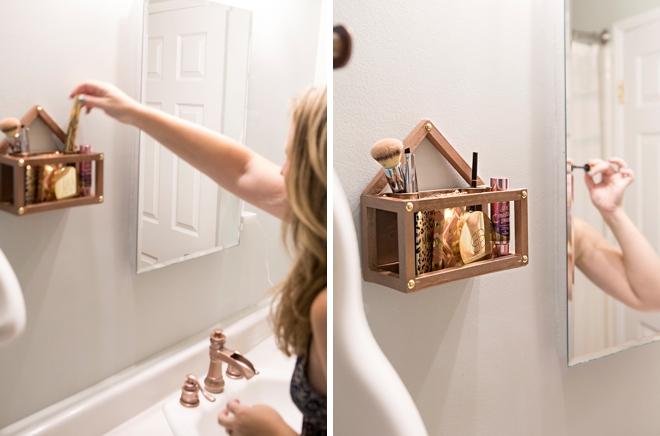 I used the new Fiskars DIY tools to make myself a custom makeup shelf!