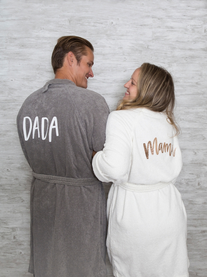 The new parents in your life need custom robes!