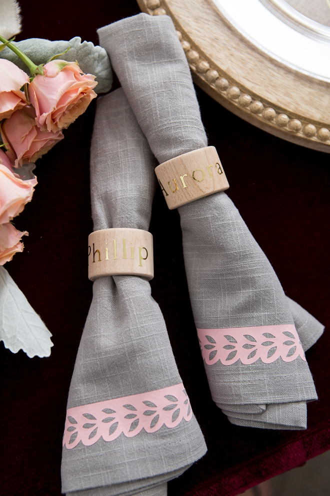 Personalize your own napkin rings and napkins for your wedding!