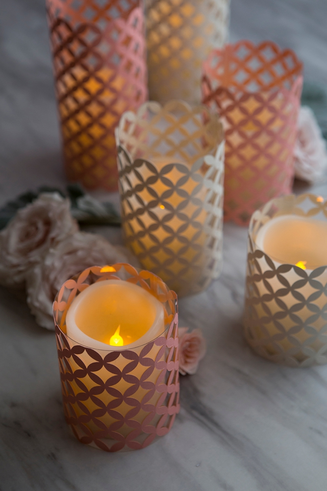 Making acetate and paper hurricane lanterns is ultra easy with Cricut!