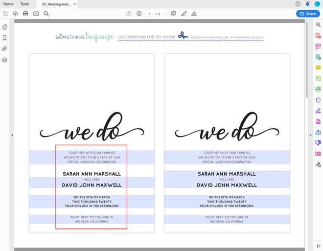 Edit and print this entire wedding invitation suite for free!