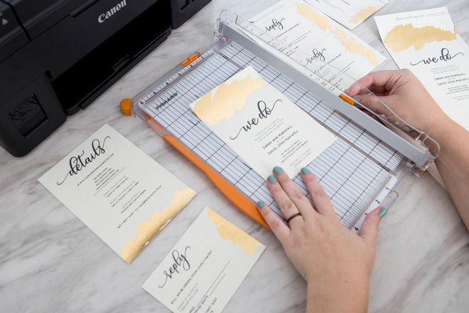 Learn how to add gold foil to these free wedding invitations!
