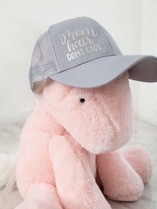 DIY adorable Mom Hair Don't Care hat using your Cricut!