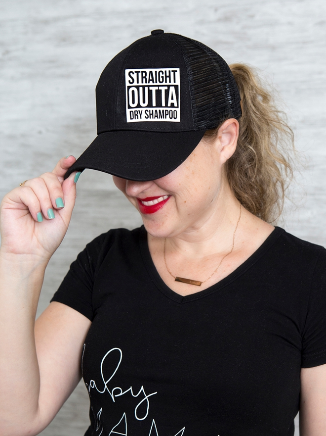 DIY funny Straight Outta Dry Shampoo hat using your Cricut!