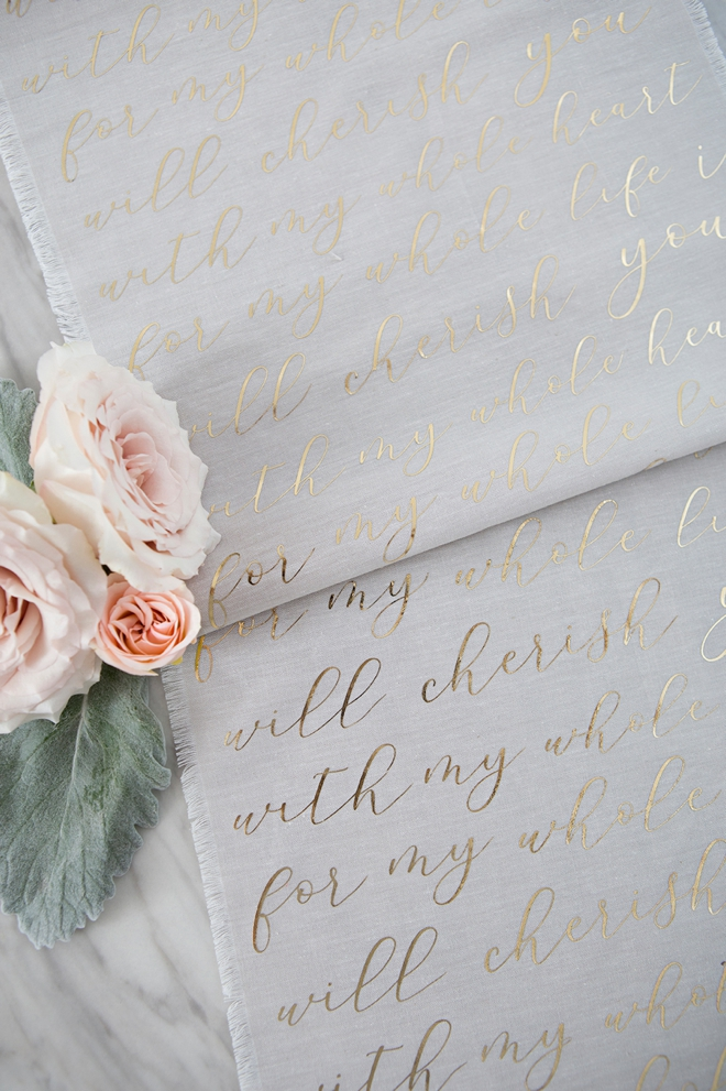 Learn how to design and make your own wedding vow table runner!
