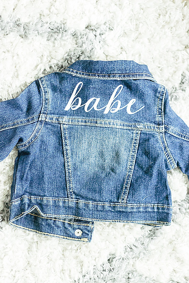 CUTE ALERT! Custom babe jean jacket tutorial with Cricut.