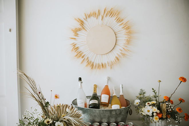 DIY boho decor wheat sun.