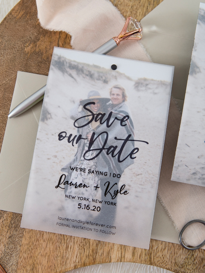 Learn how to make your own photo magnet Save the Dates!