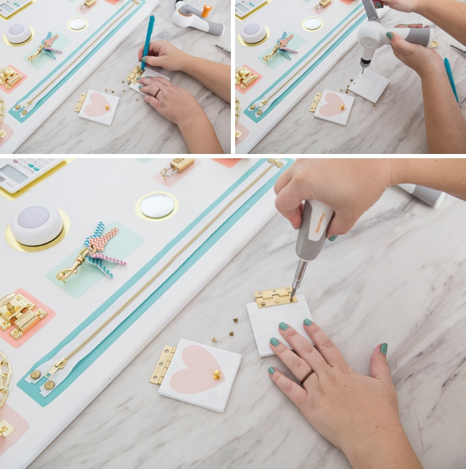 Make your own toddler busy boards, so cute!