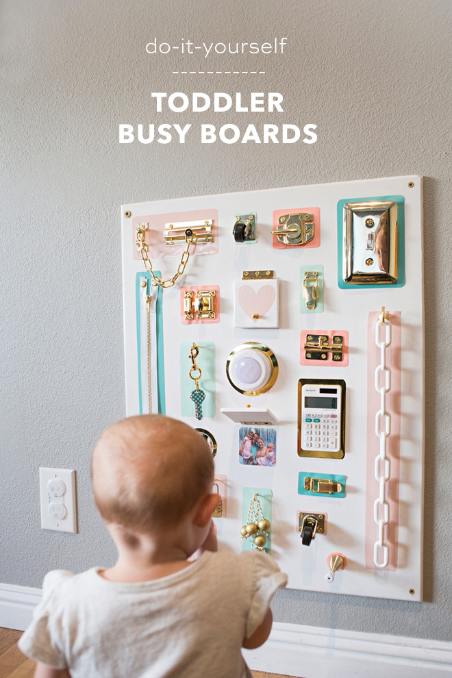 How to create your own colorful toddler busy board, without using power tools!