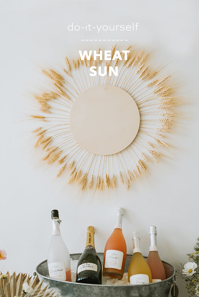 Charming DIY boho wheat sun.