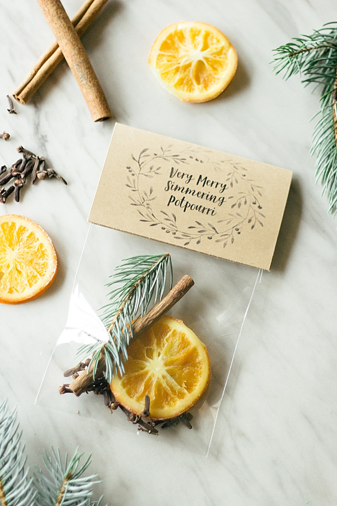Your guests will love this very merry simmering potpourri wedding favors!