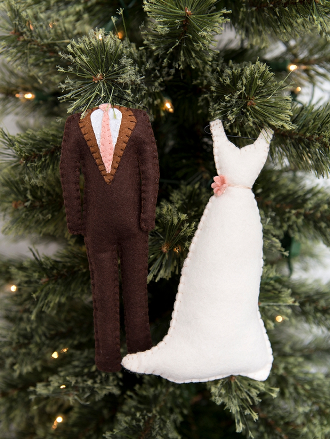 Custom bride and groom felt christmas tree ornaments!