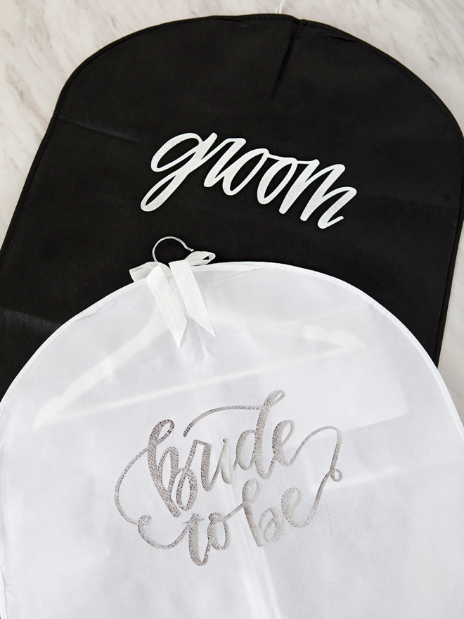 Bride and Groom personalized garment bags!