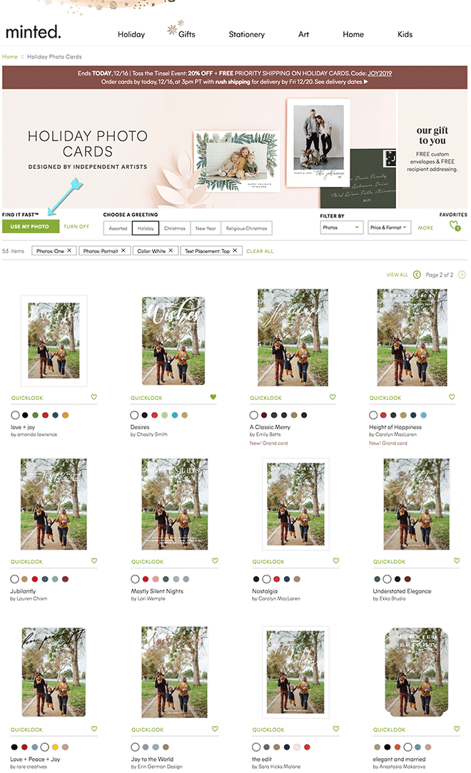 "Have you seen the ""use my photo"" feature from Minted?"
