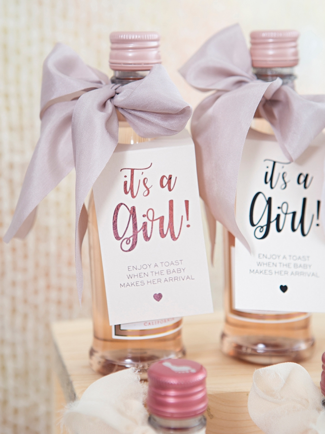 These DIY It's a Girl mini wine favors are the cutest!