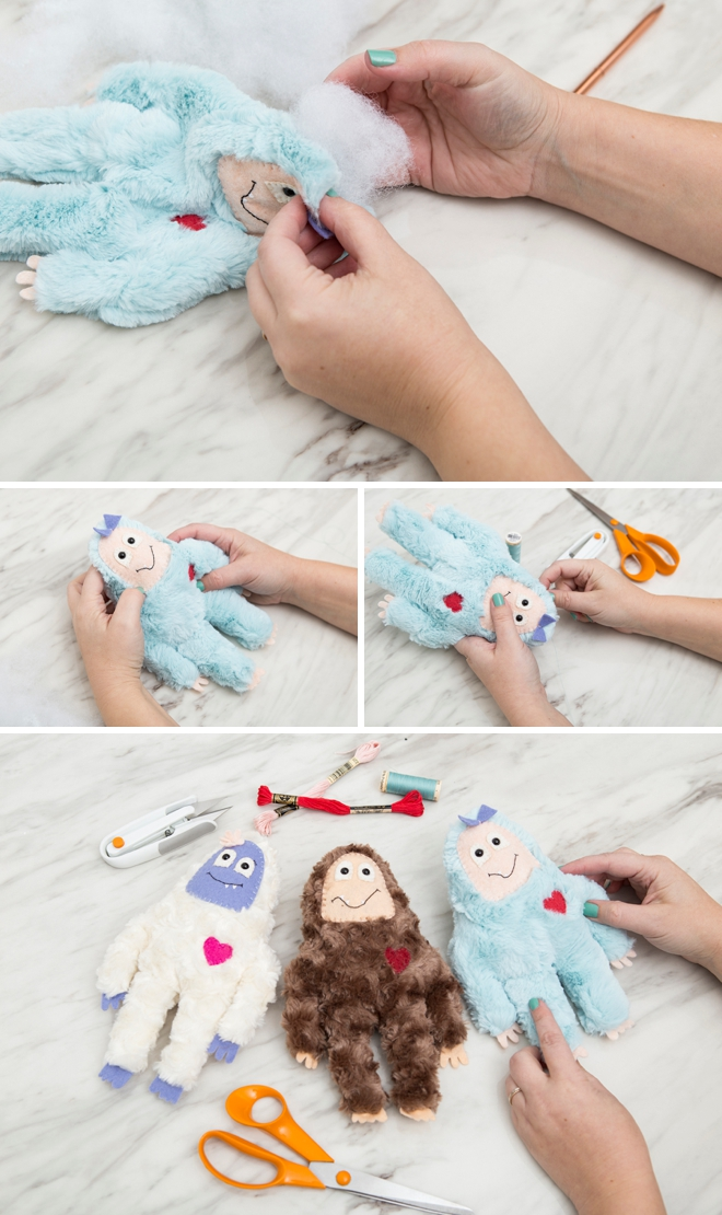 Learn how to sew your own yeti and big foot stuffies!