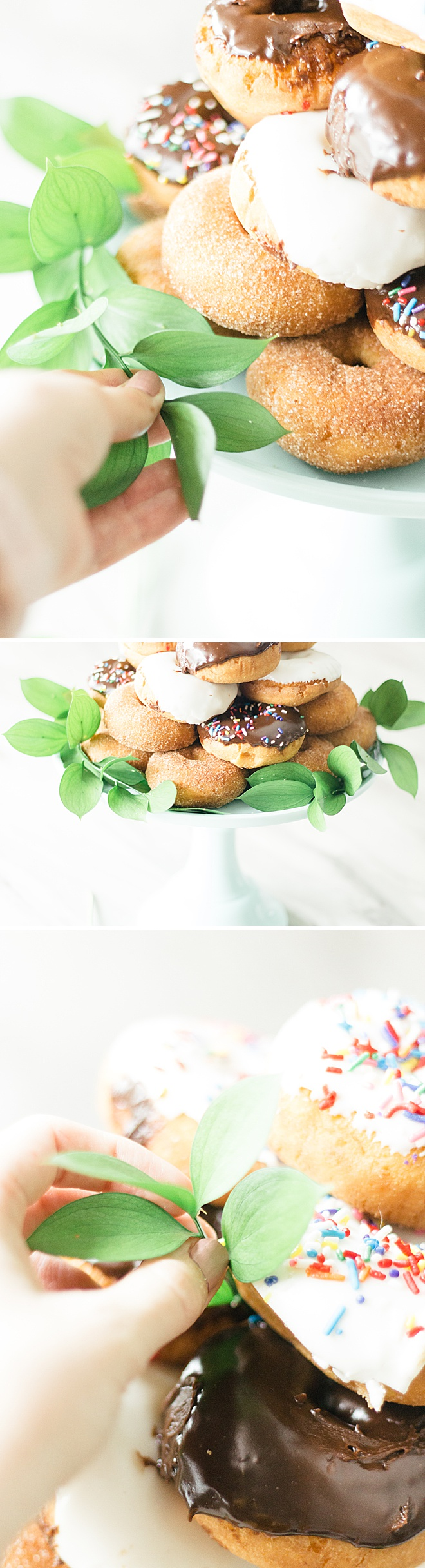 Learn how to make this simple and delicious DIY donut wedding cake!