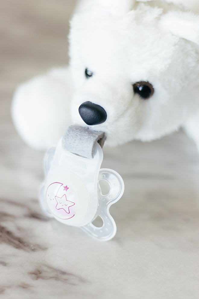 Make your own stuffed animal pacifier holder with your babies favorite pacifier!