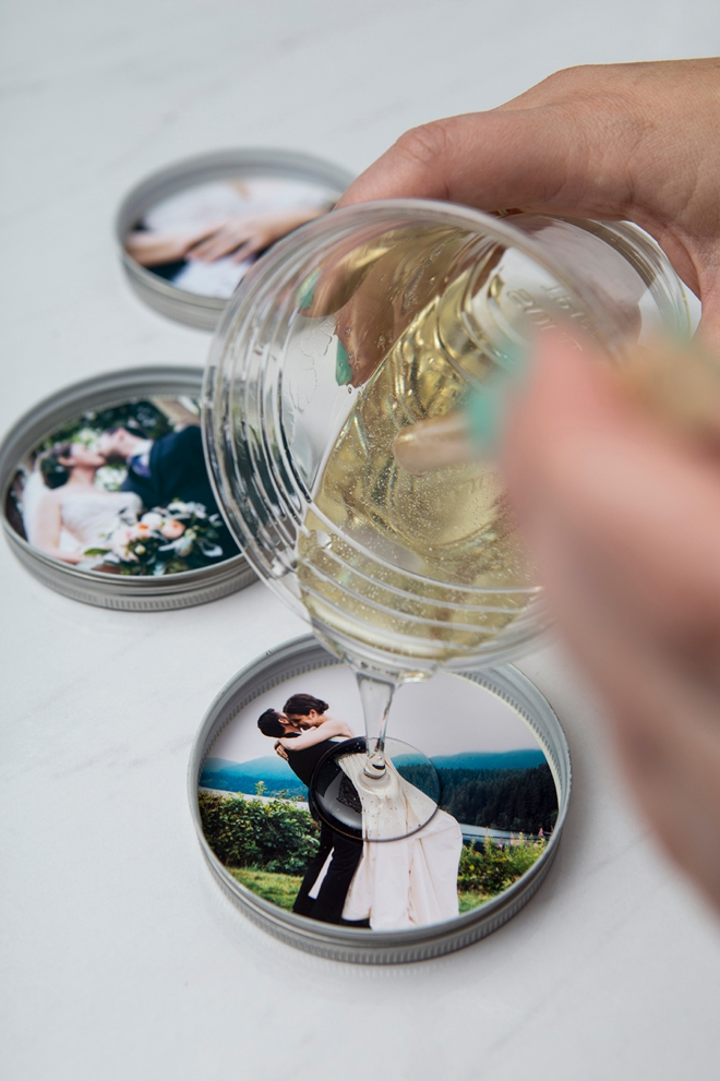 diy mason jar lid photo coasters