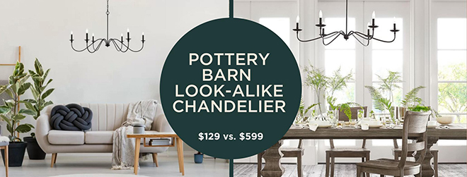 Wow this home decor look-alike is insane! This chandelier looks just like the Pottery Barn Lucca chandelier but it costs 80% less. #homedecor #lookalike #decordupe