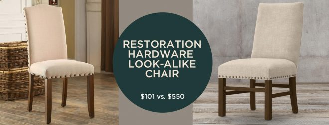 OMG this chair looks just like the Restoration Hardware nailhead chair, but only costs $100 vs. $550. I love a good home decor dupe! #decordupe #homedecor #lookalike