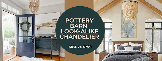 Whoa. This chandelier looks just like the pottery barn Amelia Wood Bead Chandelier but it's under $200! I love how the cream beads look together and of course, I love the low price! #decordupe #dupe #sale #lookalike