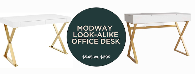 This white and gold desk is everything, but look at that price difference! I want one of these for my office, but actually prefer the cheaper look-alike desk. #decordupe #lookalike #homeoffice