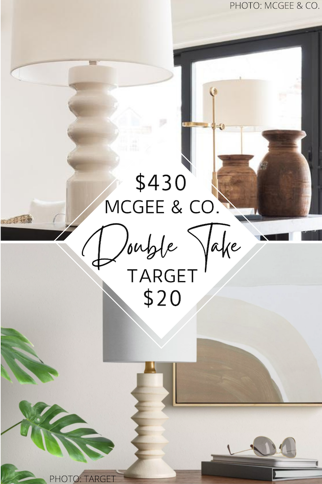 That $410 difference, tho!! If you're looking for a McGee & Co. table lamp copycat, this is it! My dupe is just $20 and is a great way to decorate on a budget. It would look great on a bedside table, as living room lighting, or in a home office. #designer #lookalike #lookforless #copycats #inspo
