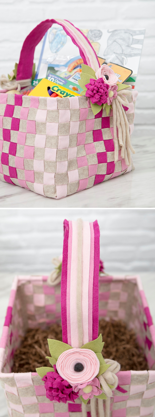 Make your own amazing woven felt baskets, free pattern!