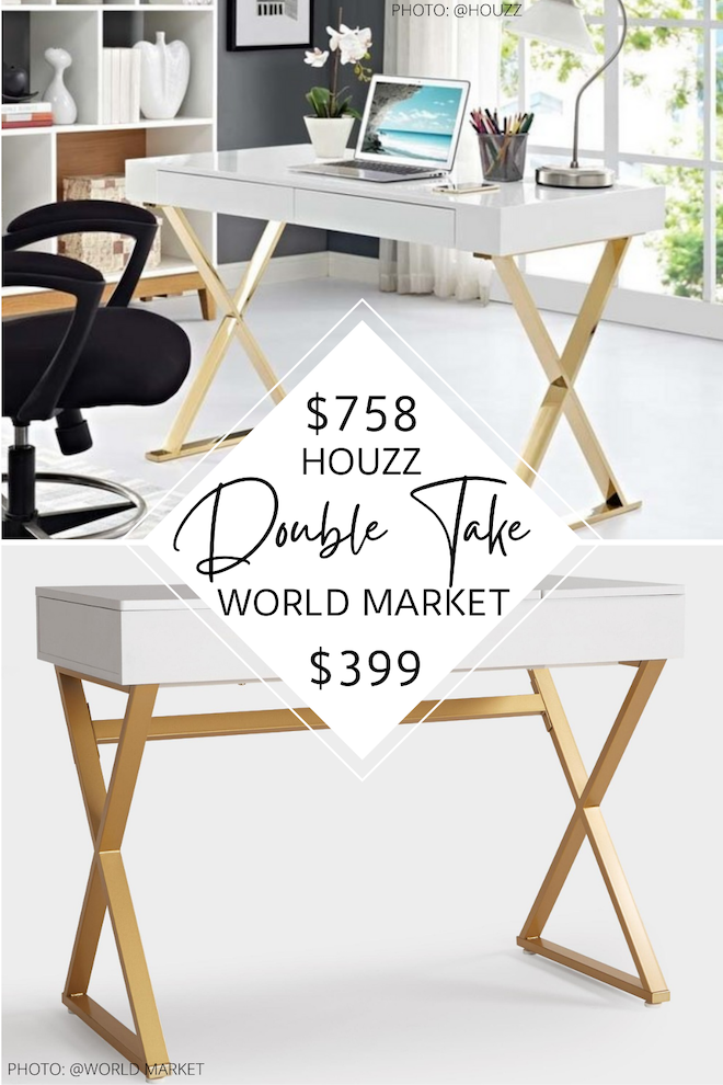 This gold and white modway desk dupe is everything! I love the feminine vibes, metal legs, and writing desk style. I also love copycat decor because it saves you so much money! This desk would be perfect for a home office and is great for small spaces. #inspo #decor #design #apartment