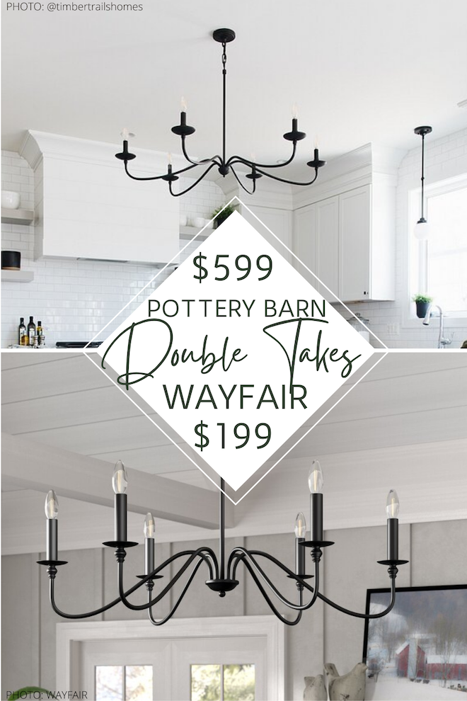 Pottery Barn Lucca Chandelier Dupe: this black farmhouse chandelier looks JUST like the Pottery Barn Lucca chandelier, but is $400 less! If you're looking for an affordable chandelier, this is the perfect light! It would look perfect in a living room, dining room, home office, or kitchen. #lighting #chic #style #decor #copycat #lookalike