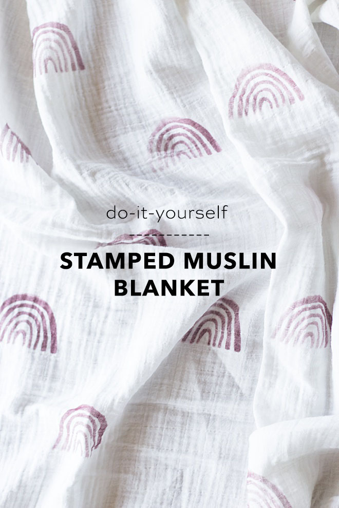 Can't get enough of these modern rainbows you see all over the internet? We are showing you how to make your own stamped muslin blanket on the blog!