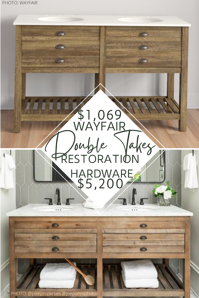Doing a home reno? You need this Restoration Hardware vanity copycat in your life! This vanity looks just like the Restoration Hardware printmaker's vanity but costs THOUSANDS of dollars less. Dupes are a great way to decorate your home on a budget. #inspo #design #decor #bathroom