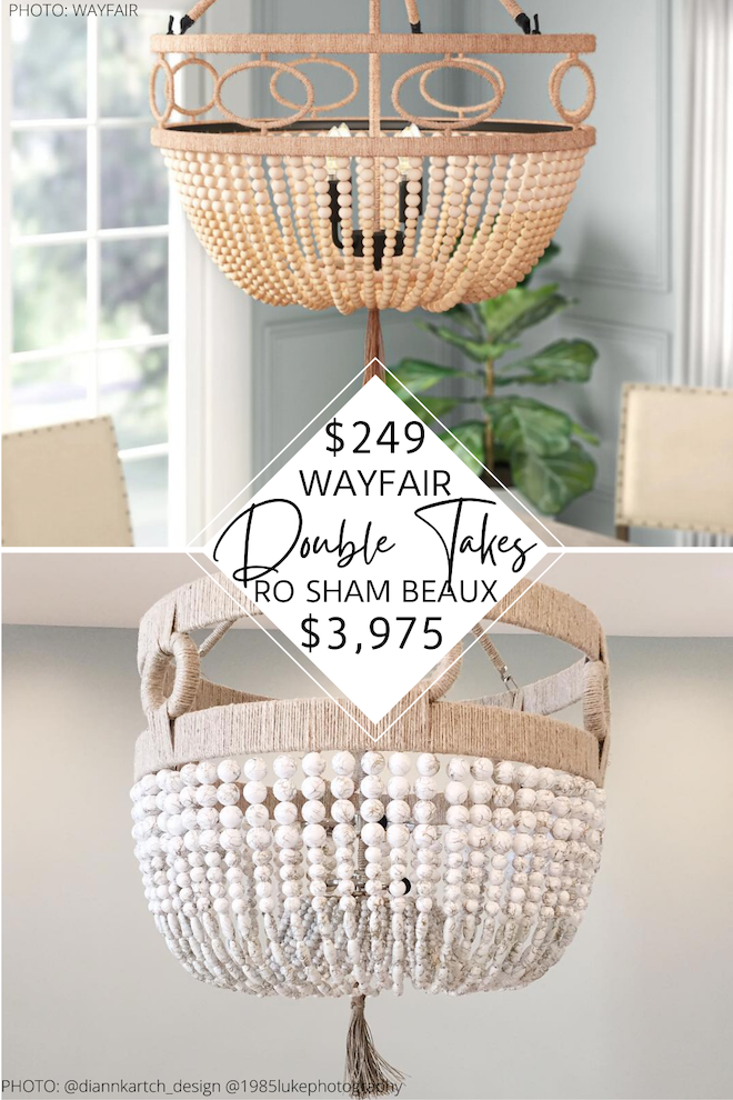 Looking for a Ro Sham Beaux Malibu chandelier dupe? I never thought I'd be able to find a copycat for Ro Sham Beaux lighting, but here we are! It's literally thousands of dollars less and is a great copycat. I love the beaded, boho vibes and also the price! #copycat #lighting #light #inspo #dupes
