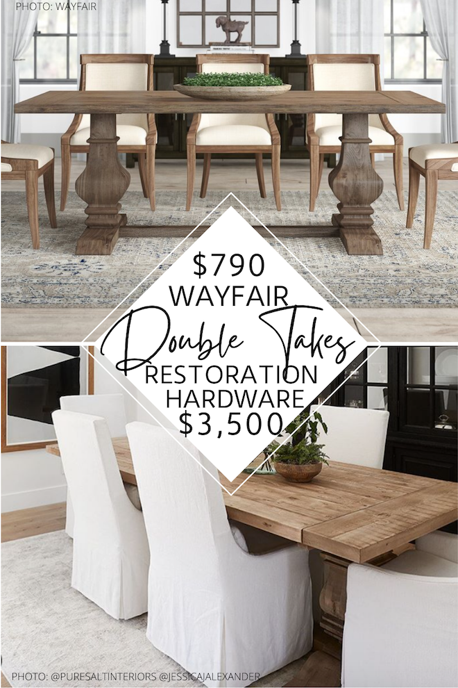 Always dreamed of having a Restoration Hardware dining table? if you love salvaged, solid wood dining tables, you NEED to see this. I found a Restoration Hardware salvaged wood dining table dupe that will blow your mind! If you're decorating on a budget, trying to save money, or looking for an affordable wood dining table, this copycat is for you. #inspo #design #decor #rectangular