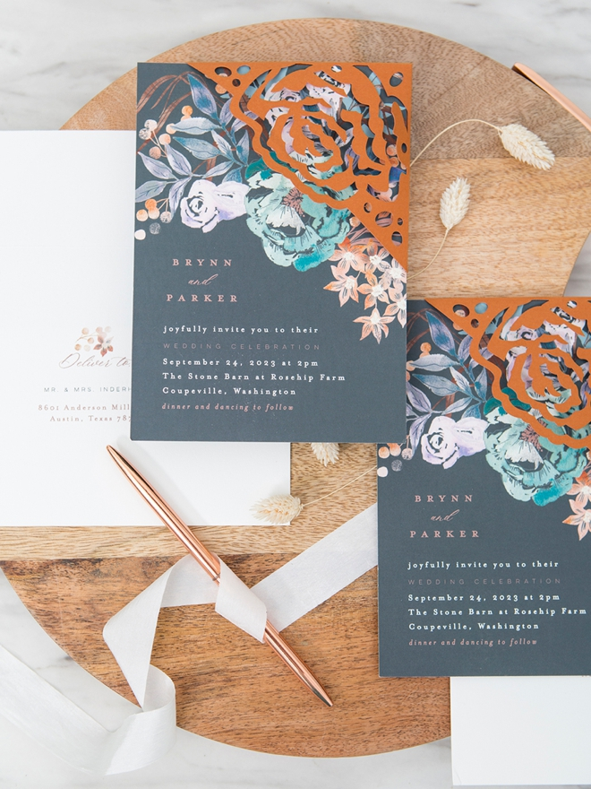 Gorgeous custom corner wrap on a Minted wedding invitation!