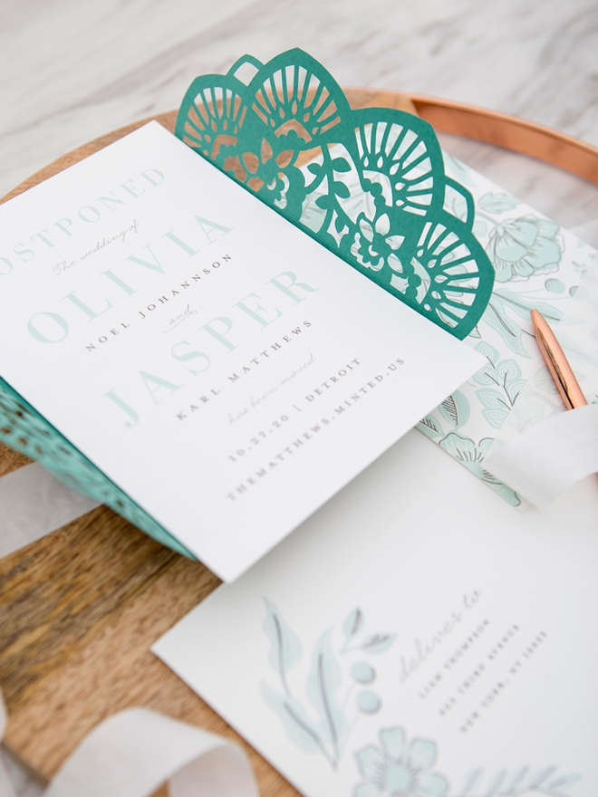Gorgeous change the date wedding invitation from Minted