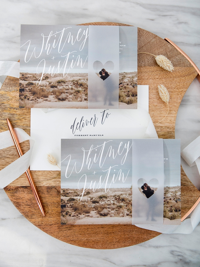 Lovely vellum heart wrap on a Minted photo invitation!