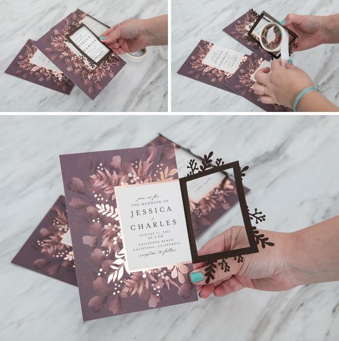 Handmade wedding invitation side wrap with Minted weddings!