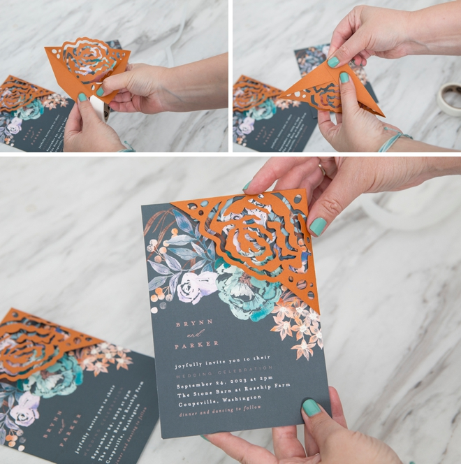 Gorgeous custom corner wrap on a Minted wedding invitation!