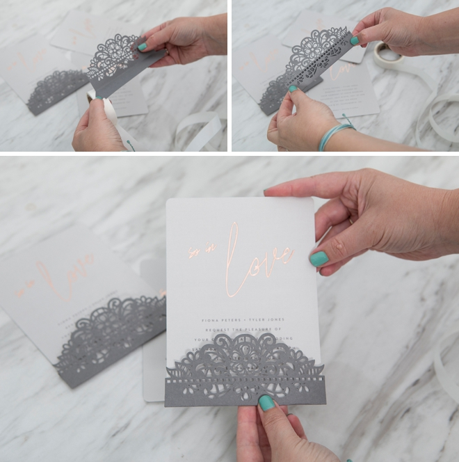 DIY invitation pocket on a Minted wedding invitation!