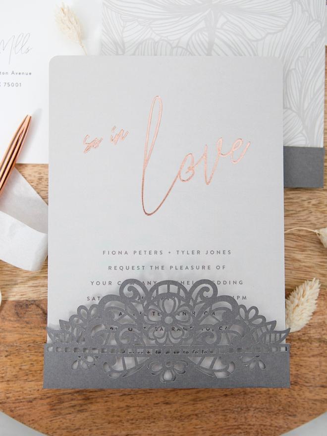 DIY invitation pocket on a Minted wedding invitation!