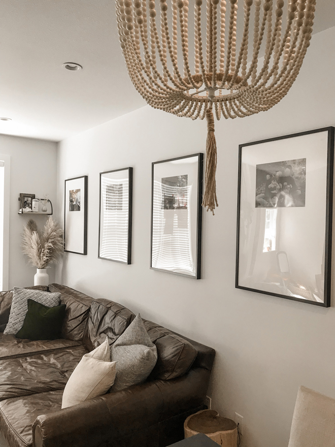 This is a great home decor DIY using IKEA Ribba frames. It's so easy and really elevates the living room. #naturalhome #diy #diyhome