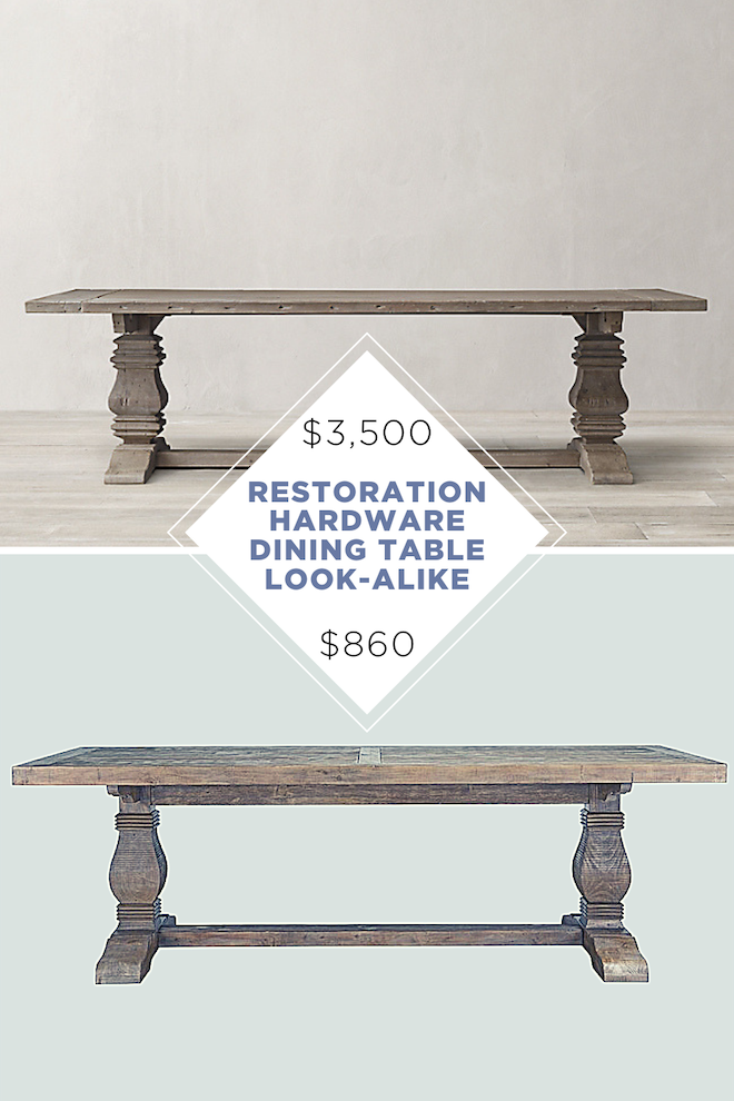 Finally! A restoration hardware dining table copycat! Love the solid wood and reclaimed wood vibes; since it's a dupe, it's also a fraction of the cost! #copycat #copycathomedecor #homedecor #restorationhardware