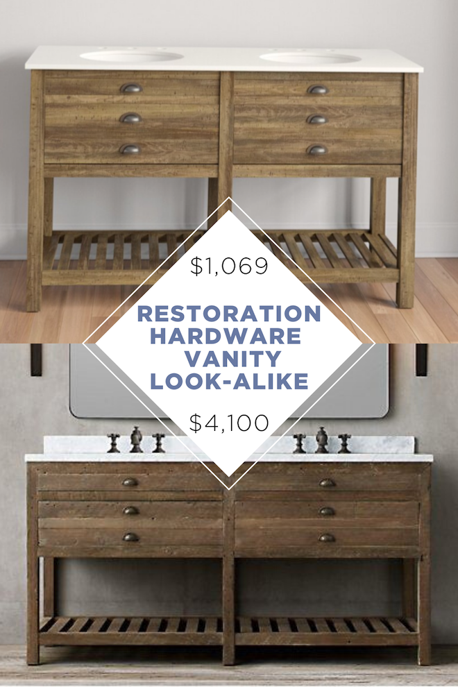 This vanity is the perfect copycat for Restoration Hardware's Printmakers Double Washstand Vanity. And since it's a lookalike, it costs a whopping $4,000 less. If you're looking for more copycat decor, we have so much more! #dupe #copycatdecor #lookalike #restorationhardware