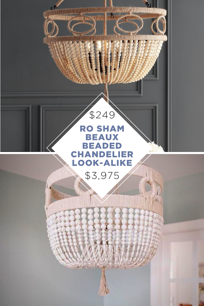 I never thought I'd able to find a copycat for Ro Sham Beaux lighting, but here we are! It's literally thousands of dollars less and is a great copycat. I love the beaded, boho vibes and also the price!