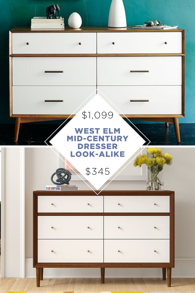 This Mid-Century Modern Dresser is a perfect copycat for West Elm's dresser! It's a perfect look-alike that will save you so much money. #homedecor #dupe #lookalike #midcenturymodern